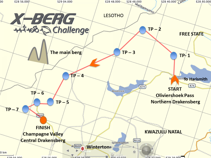 Map of 2017 X-Berg route